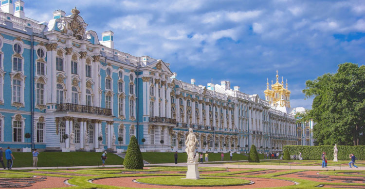 Blue-white-golden facade of Catherine Palace in Tsarskoe Selo. Saint Petersburg Russia
