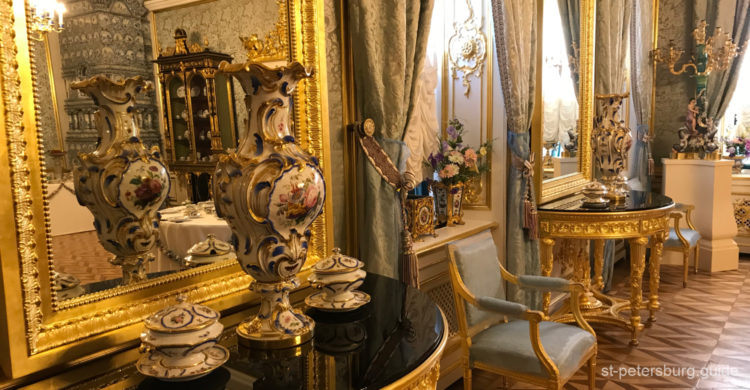 Interior in the Catherine Palace. Tsarskoe Selo in Saint Petersburg Russia