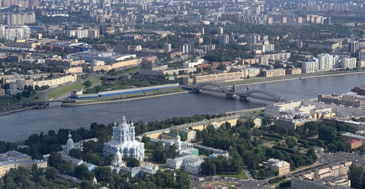 Copter view of Smolny cathedral and Bolsheokhtinsky bridge in Saint Petersburg, Russia