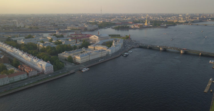 Copter view of the Neva panorama on the Spit of Vasilievsky Island