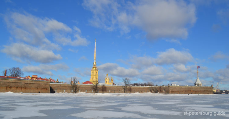 Peter and Paul fortress. Hare Island. The Neva river ice view in St Petersburg Russia