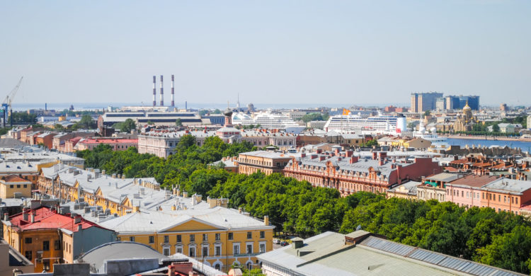 Scenic view from St. Isaac's Cathedral in St. Petersburg Russia