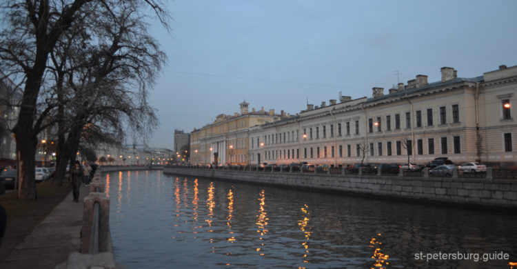 External facades of Yusupov palace on the Moika view. Evening in St Petersburg Russia